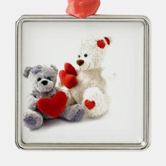 TEDDY BEARS &  LOVE HEARTS Silver-Colored SQUARE DECORATION