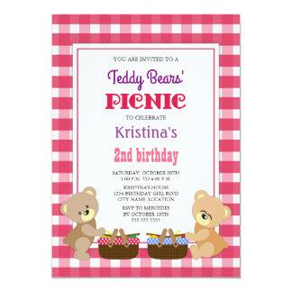 Teddy Bears' Picnic Girl's Birthday Party Card