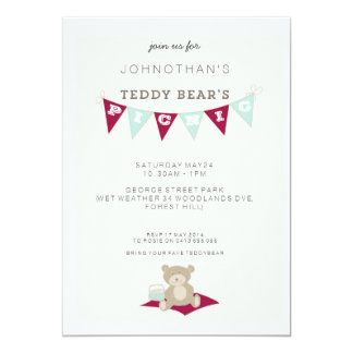 Teddy Bear's Picnic - Red & Blue Card