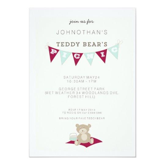 Teddy Bear's Picnic - Red & Blue Card