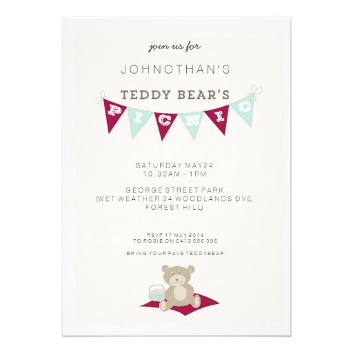 Teddy Bear's Picnic - Red & Blue Invitation