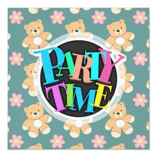 Teddy Bears & Pink Flowers on Blue 13 Cm X 13 Cm Square Invitation Card
