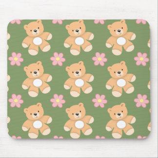 Teddy Bears Pink Flowers on Sage Green Mousepads