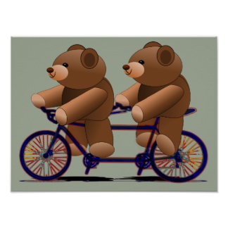 Teddy Bears Tandem Bicycle Print