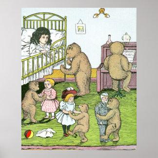 Teddy Bears Waltz with Dolls Print