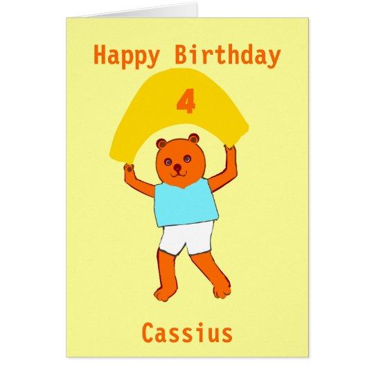 Teddy birthday add age name card