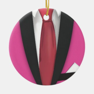 Teddy Boy Suit and Tie Round Ceramic Decoration