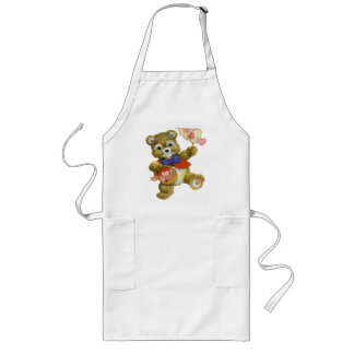 Teddy Catching Valentine Hearts Long Apron