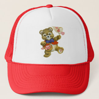 Teddy Catching Valentine Hearts Trucker Hat