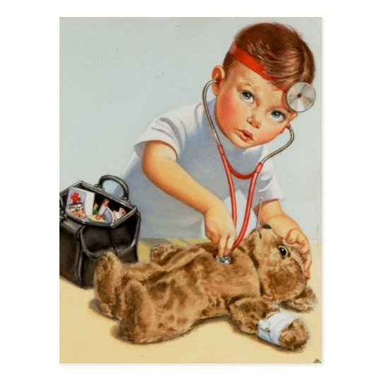 Teddy Checkup - Cute Vintage Art Get Well