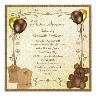 Teddy & Crib Vintage Brown & Gold Baby Shower 13 Cm X 13 Cm Square Invitation Card