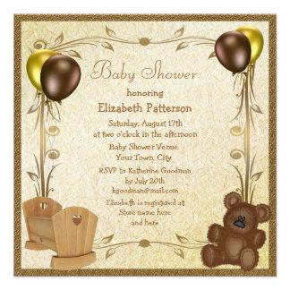 Teddy & Crib Vintage Brown & Gold Baby Shower Custom Invitations