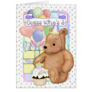 Teddy Cupcake Birthday - Third birthday Cards