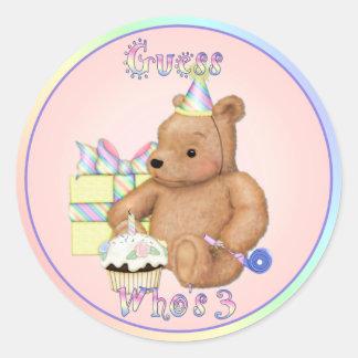 Teddy Cupcake Third Birthday Round Sticker