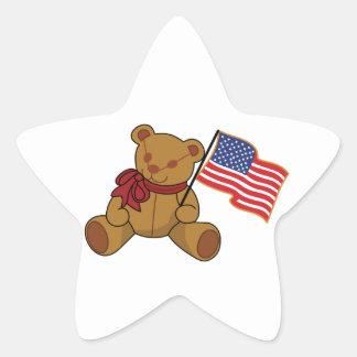 Teddy Flag Star Sticker