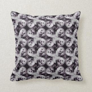 Teddy head mosaic monochrome collage cushion
