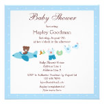 Teddy in Plane & Clothesline Blue Baby Shower