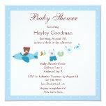 Teddy in Plane & Clothesline Blue Baby Shower