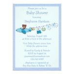 Teddy in Plane & Clothesline Blue Boy Baby Shower Custom Invitation