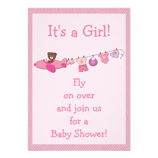 Teddy in plane clothesline pink girl baby shower personalized invite