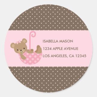 Teddy In Umbrella (Pink) Return Address Labels Round Sticker