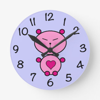 Teddy Love Round Clock