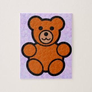 Teddy on Lilac Background Jigsaw Puzzle