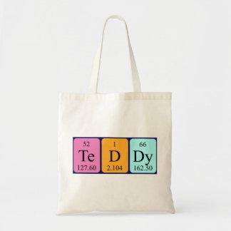 Teddy periodic table name tote bag