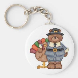 Teddy Pilgrim And Turkey Keychains