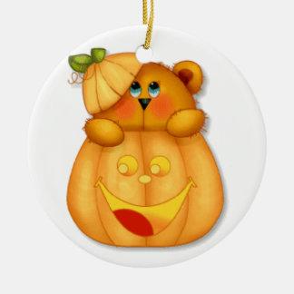Teddy Pumpkin Christmas Ornament