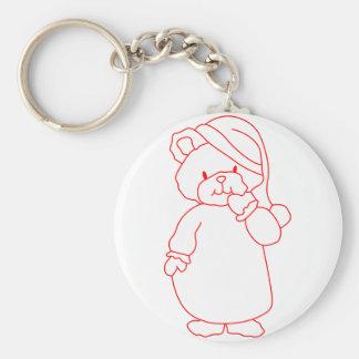 Teddy Redwork Basic Round Button Key Ring