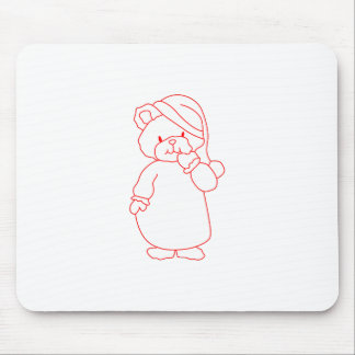 Teddy Redwork Mouse Pad