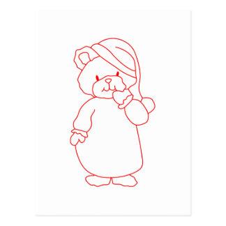 Teddy Redwork Postcard