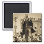 Teddy Roosevelt 1905 Stereoview Card Vintage Square Magnet