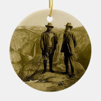 Teddy Roosevelt and John Muir at Glacier Point Christmas Ornament