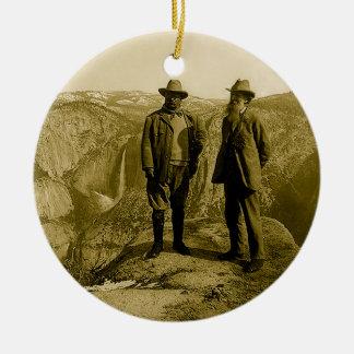 Teddy Roosevelt and John Muir at Glacier Point Round Ceramic Decoration