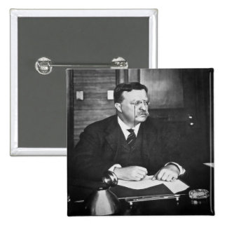 Teddy Roosevelt at Work in 1912 15 Cm Square Badge