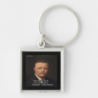 """Teddy Roosevelt """"Feet On Ground"""" Wisdom Quote Gift Key Ring"""