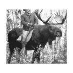 Teddy Roosevelt Riding A Bull Moose Stretched Canvas Prints
