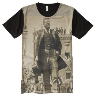 Teddy Roosevelt Speaks to Crowd 1905 Bull Moose All-Over Print T-Shirt