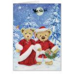Teddy Santa and Mrs. Claus Christmas Card (Blank)