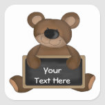 Teddy Teacher (chalkboard customisable) Square Sticker