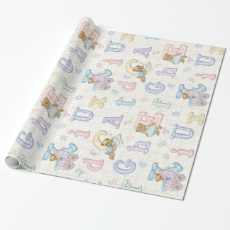 Teddy Tots Pastel Alphabet Wrapping Paper