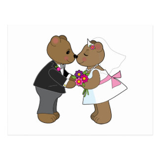 Teddy Wedding Postcard