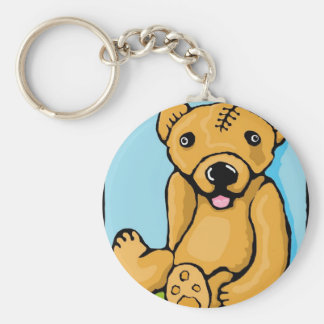 Teddy with a lobotomy basic round button key ring