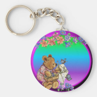 Teddy with flowers basic round button key ring