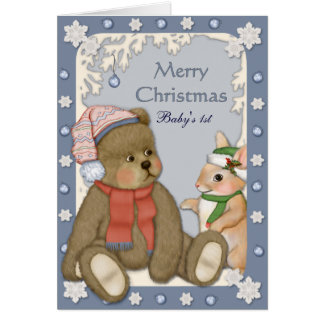 Teddybear - Baby s First Christmas Greeting Card
