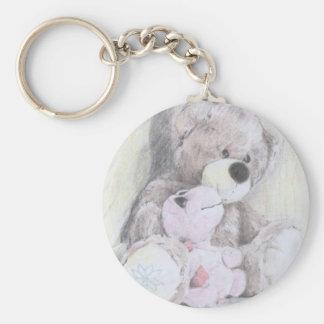 Teddy's best friend turtle basic round button key ring