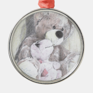 Teddy's best friend turtle Silver-Colored round decoration