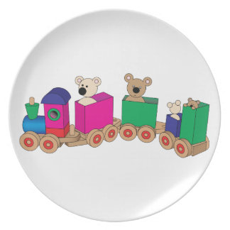 Teddy's Train Ride. Party Plates
